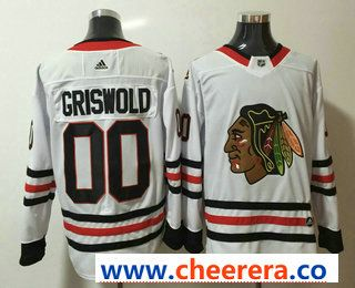 Men s Chicago Blackhawks  00 Clark Griswold White 2017-2018 Hockey Stitched NHL  Jersey 39cc65bb5