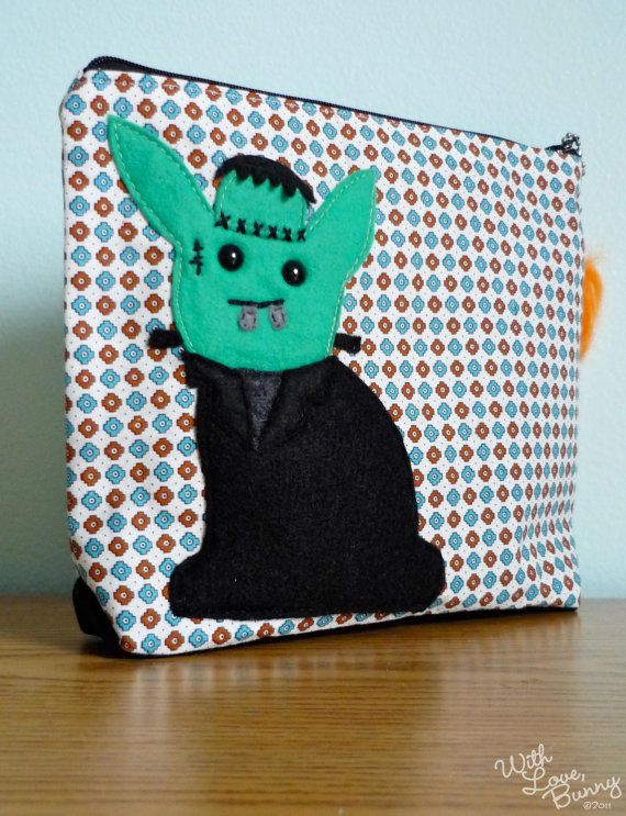 The Frankenbunny WLB Character Bunnies Pouch by withlovebunny, $40.00  #withlovebunny  #frankenstein