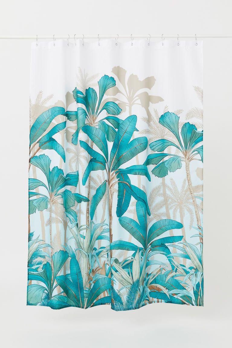 h m 2 rideau douche motif turquoise
