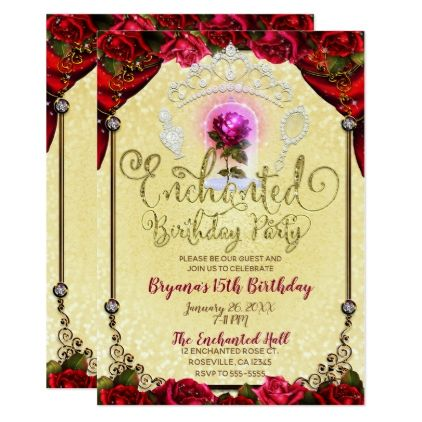Enchanted Magical Rose Beauty  The Beast Party Card Invitation