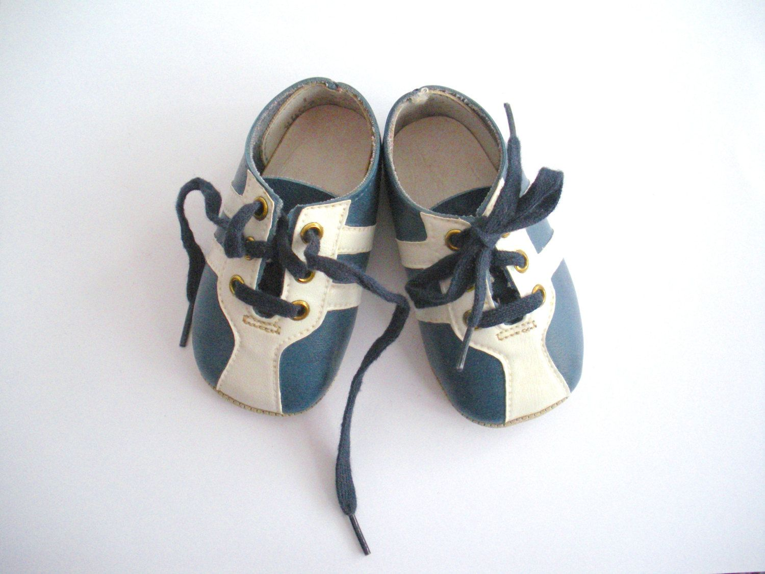 LOVE Vintage Baby Boy Shoes Navy Blue Soft Sole