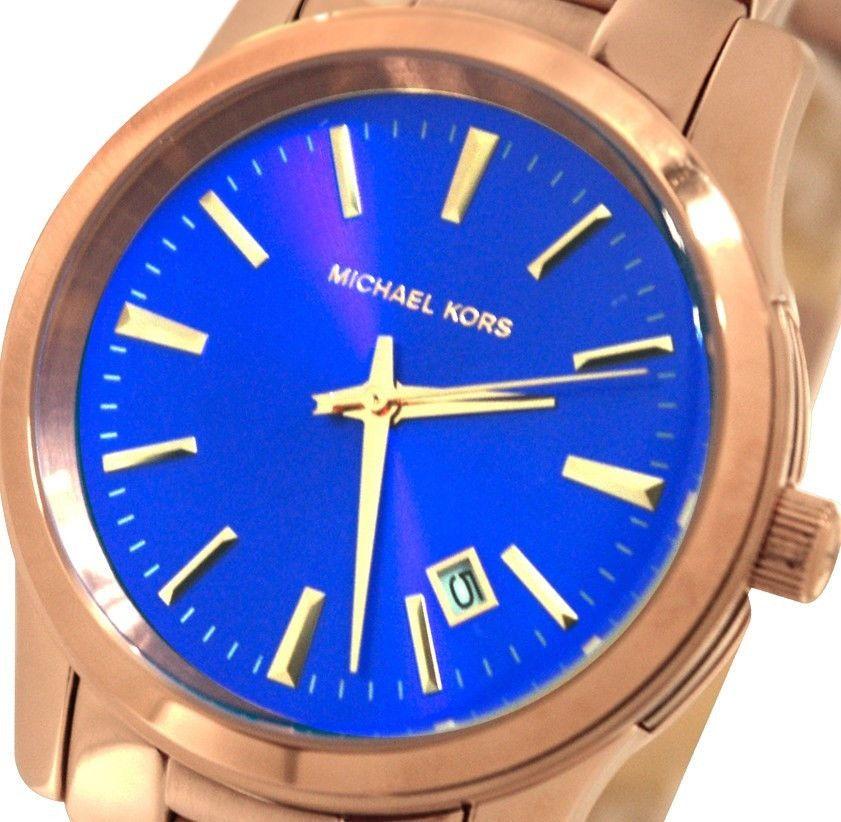 New Michael Kors Womens Watch Blue Dial \u0026 Rose Gold Bracelet Runway /Box  MK5913