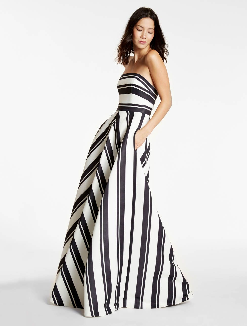 93979d164a8b Strapless Variegated Stripe Gown, Prom & Wedding, Celebrity Style Ideas &  Outfit Inspiration, How to Wear Stripes