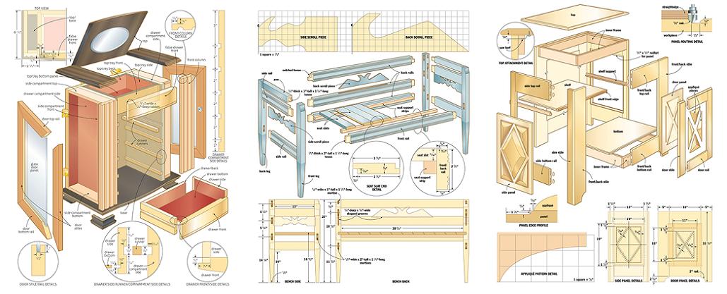 Piani di lavorazione del legno & Patterns gratuiti