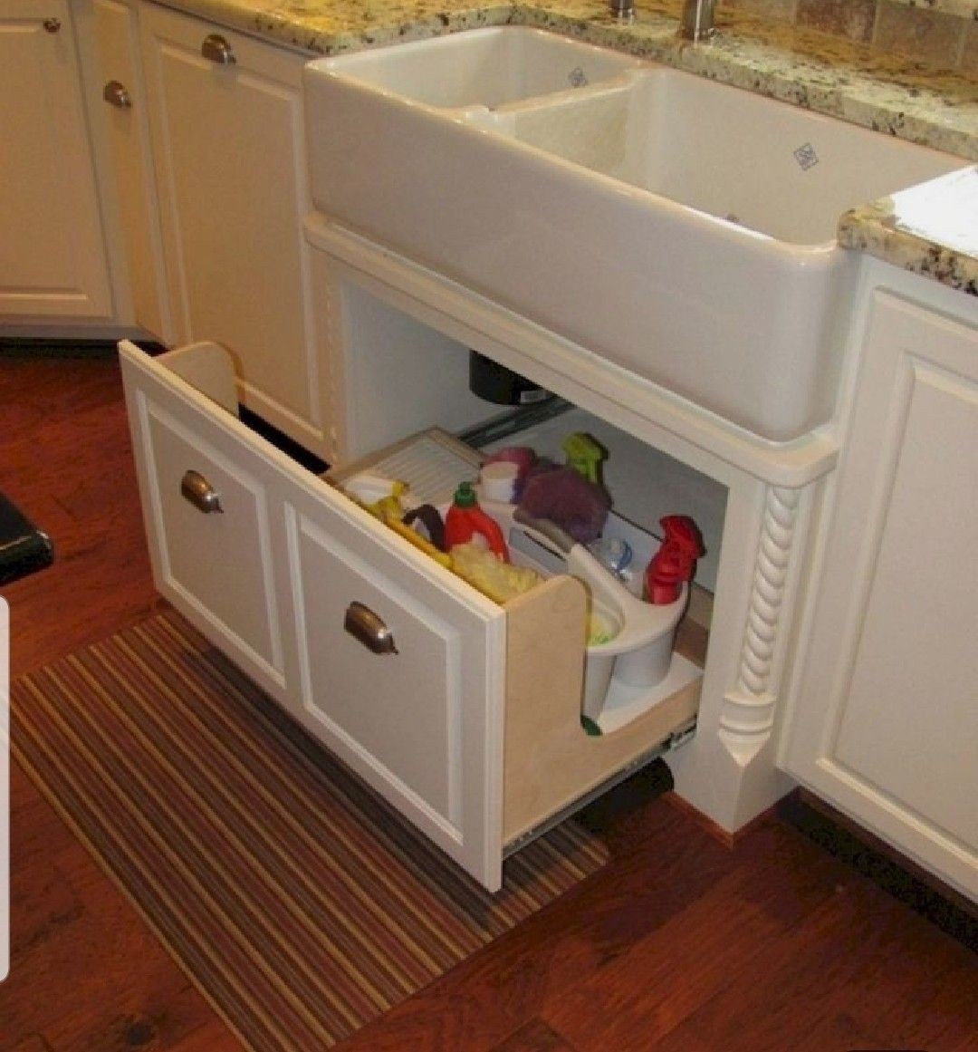 I like the idea of a roll out under the sink instead of ...