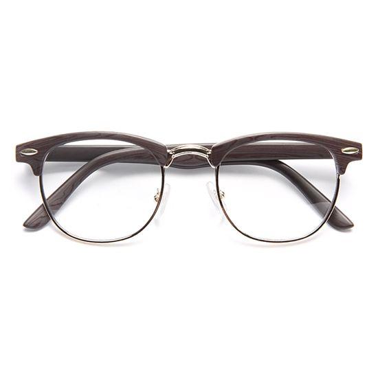 0e5fc83805 Peyton 2  Wood Grain Clubmaster Clear Glasses - Black Gold - 5641-2 ...