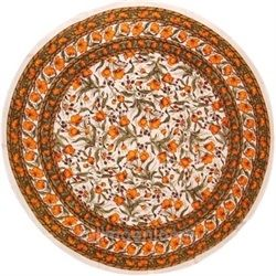 French Floral Tablecoth 66 Inch Round Cotton Olive & Saffron