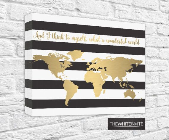 World map canvas print black and white stripe gold faux gold foil black and white stripe gold world map canvas faux gold foil and i think to myself what a wonderful world atlas gallery wrapped gumiabroncs Gallery
