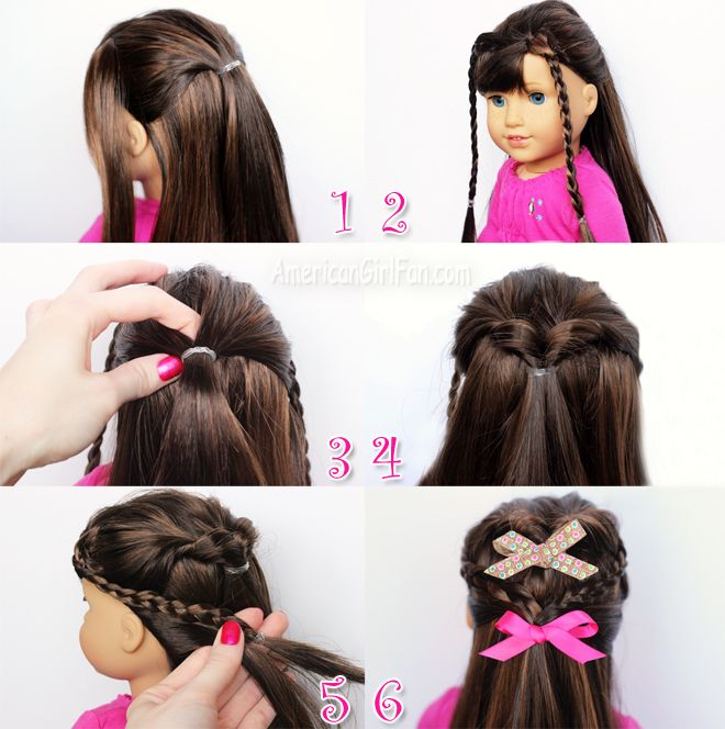 Doll Hairstyle Flip Twist With Mini Braids American Girl Doll Hairstyles American Girl Hairstyles Doll Hair