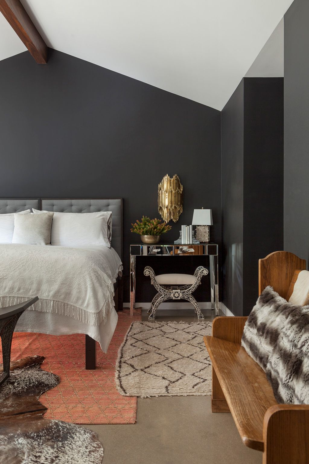 Mixed Styles Dark Grey Bedroom Walls Mixing Of Furniture Styles