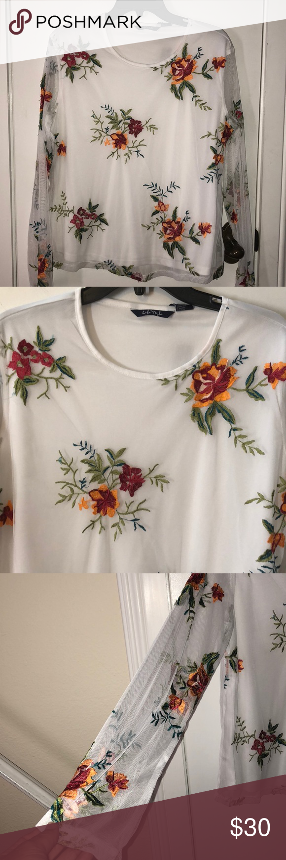 Nwt life style white with flowers size lg in 2018 my posh closet nwt life style white with flowers size lg nwt beautiful white top with a mesh cover with embroidered flowers on it has long sleeves made of mesh mightylinksfo