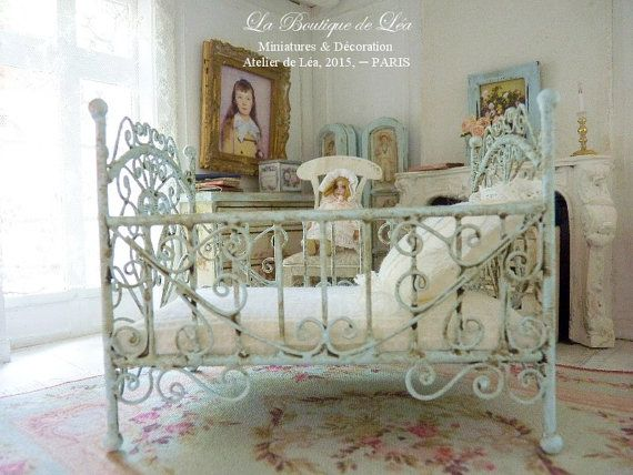 Blue baby bed, sweet nursery, French dollhouse miniature furniture 1:12th scale.  Bed in metal for baby. It measures 11 cm (L) 4.33 X 9 cm (H) 3.35