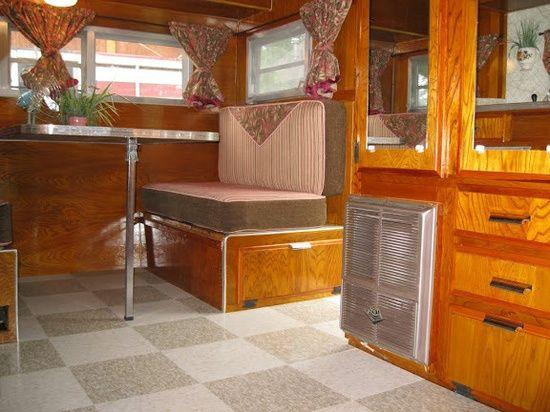 Vintage Camper Interiors | Vintage Roadrunner Travel Trailer   Stunning  Canned Ham Wood Interior .