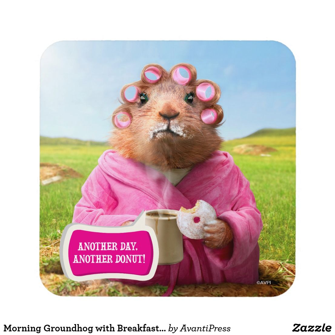 Morning Groundhog with Breakfast Donut and Coffee Coaster