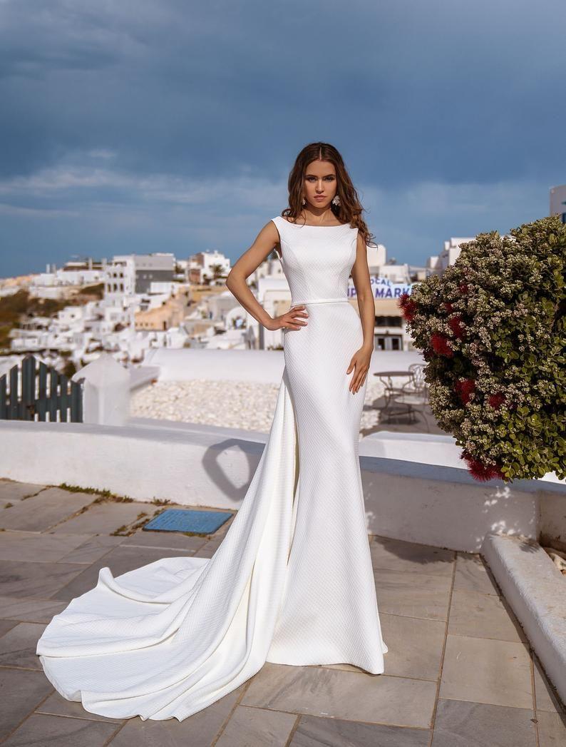 High Neck Wedding Dress Satin Wedding Dress Simple Wedding Etsy Wedding Dresses Wedding Dresses Satin High Neck Wedding Dress [ 1047 x 794 Pixel ]