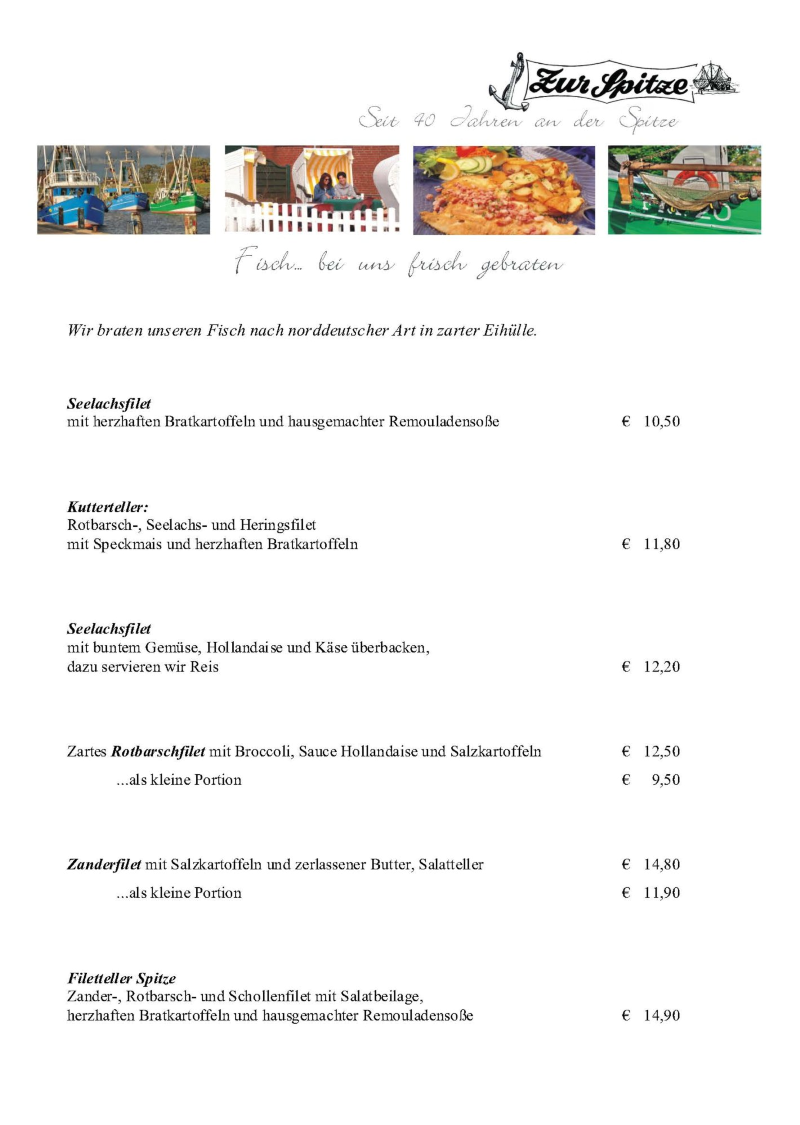 Ihr Deichrestaurant Zur Spitze In Friedrichskoog Speisekarte Speisekarte Seelachsfilet Rotbarsch