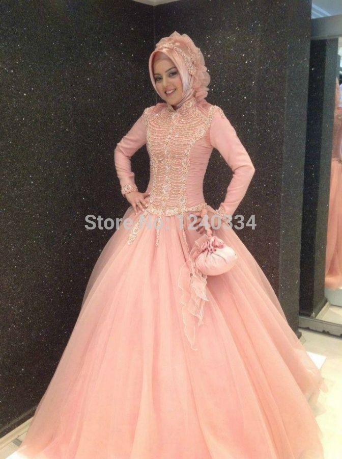Gold Hijab Wedding Dress