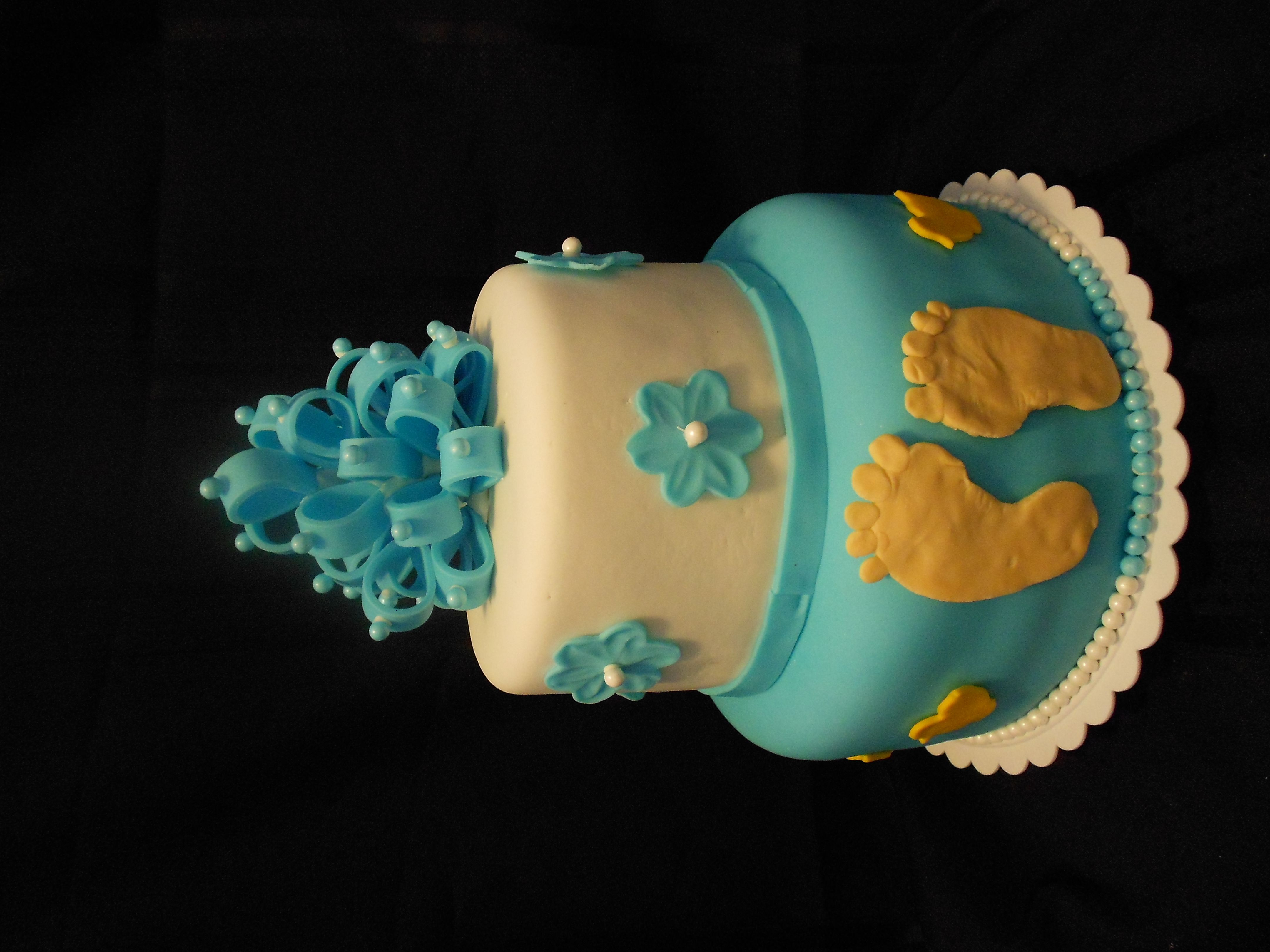 boy baby shower 6in and 9 inch cake by Mamas Baked Goodies