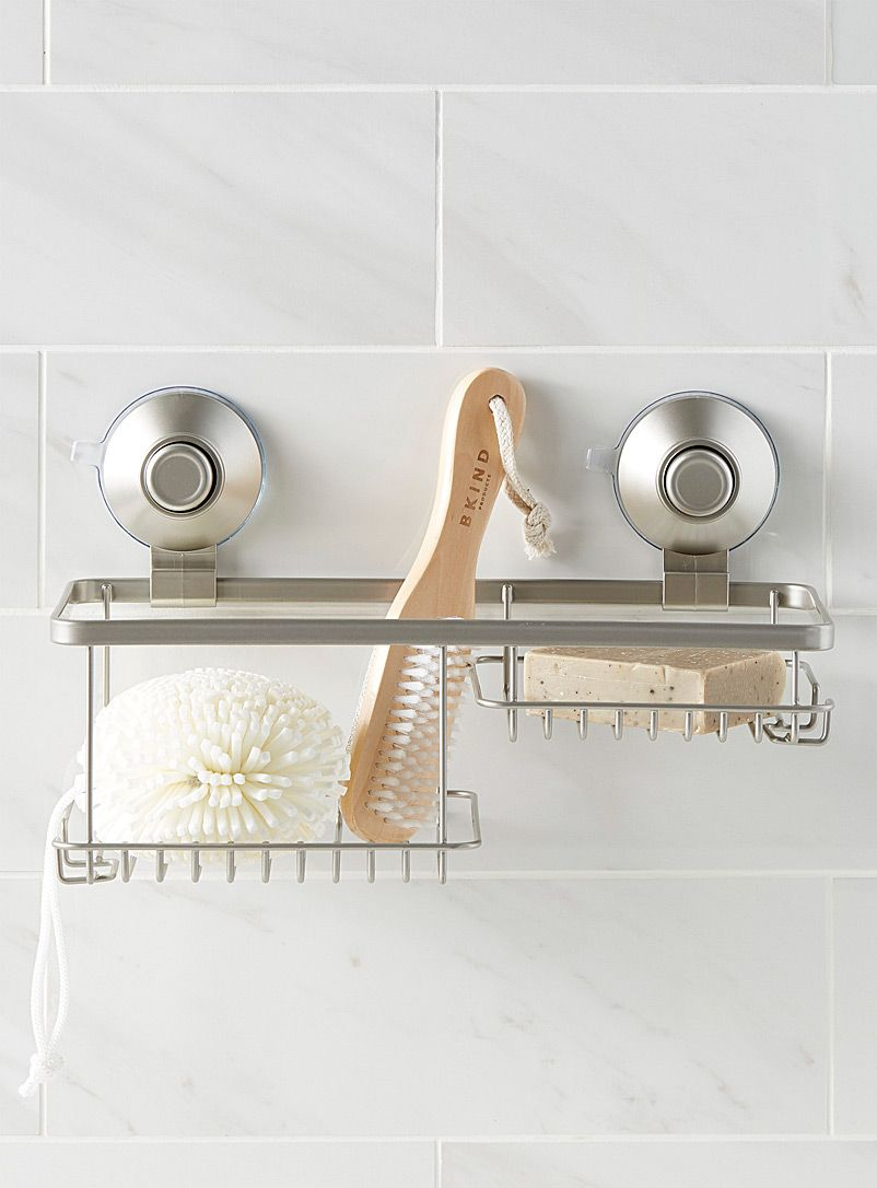 Suction Cup Push Button Shower Basket In 2020 Shower Basket