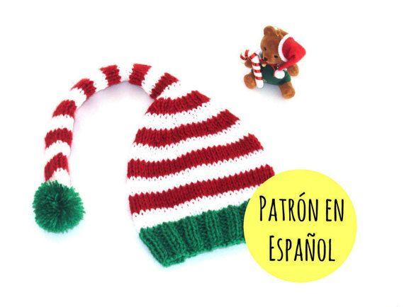 PATRÓN de gorro tejido tipo elfo - Patrón gorro Navidad - Patrón tejido en  ESPAÑOL - Descarga inmedi d80592cab3e