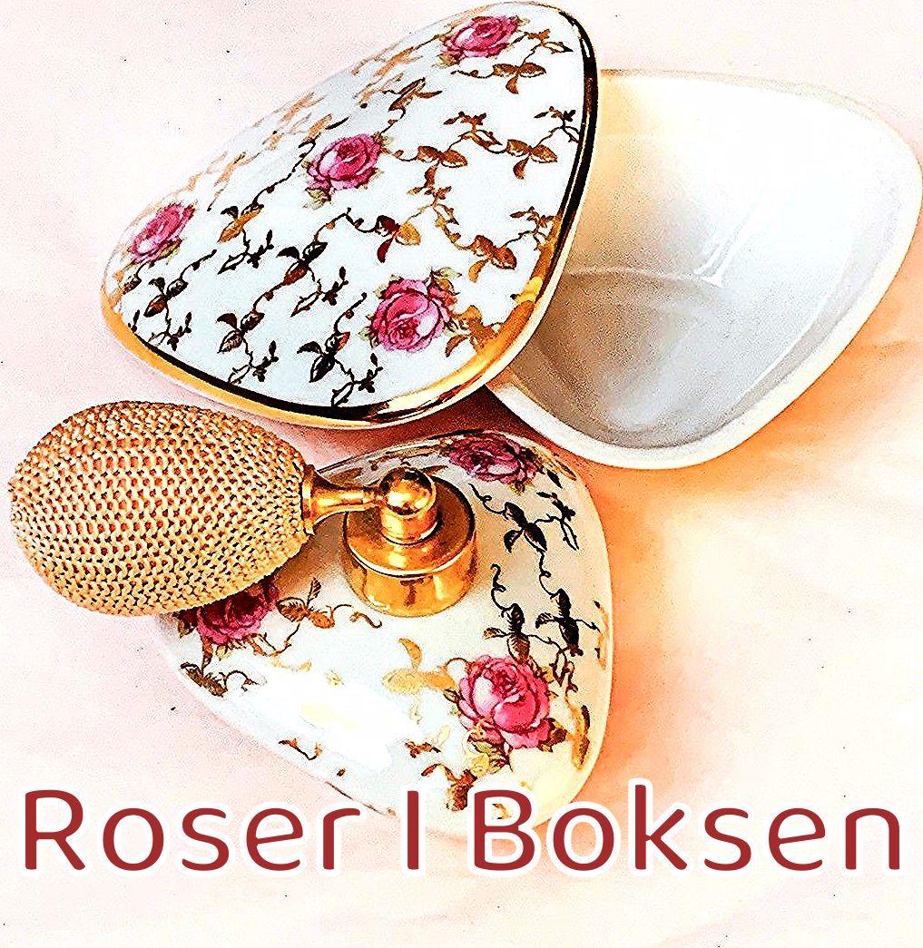 Parfumeflacon med krukke 95 DKK Parfumeflacon i porcelæn med roser og guldkanter, 4,5 cm i diameter. Dertil en lille skål med låg, 5,5 cm i diameter, velegnet til opbevaring af f.eks. dine fingerringe mens du sover. Sættet er fra Royal Bavaria og uden skader. #retrofund #retro #retrosalg #retroguld  #loppedeluxe #loppeguld #vintage #boligindretning #boliginspiration #retrodesign