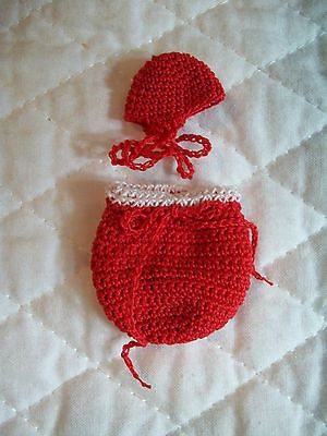 HANDCROCHET CHRISTMAS BUNTING SET FOR YOUR OOAK TINY BABY DOLL