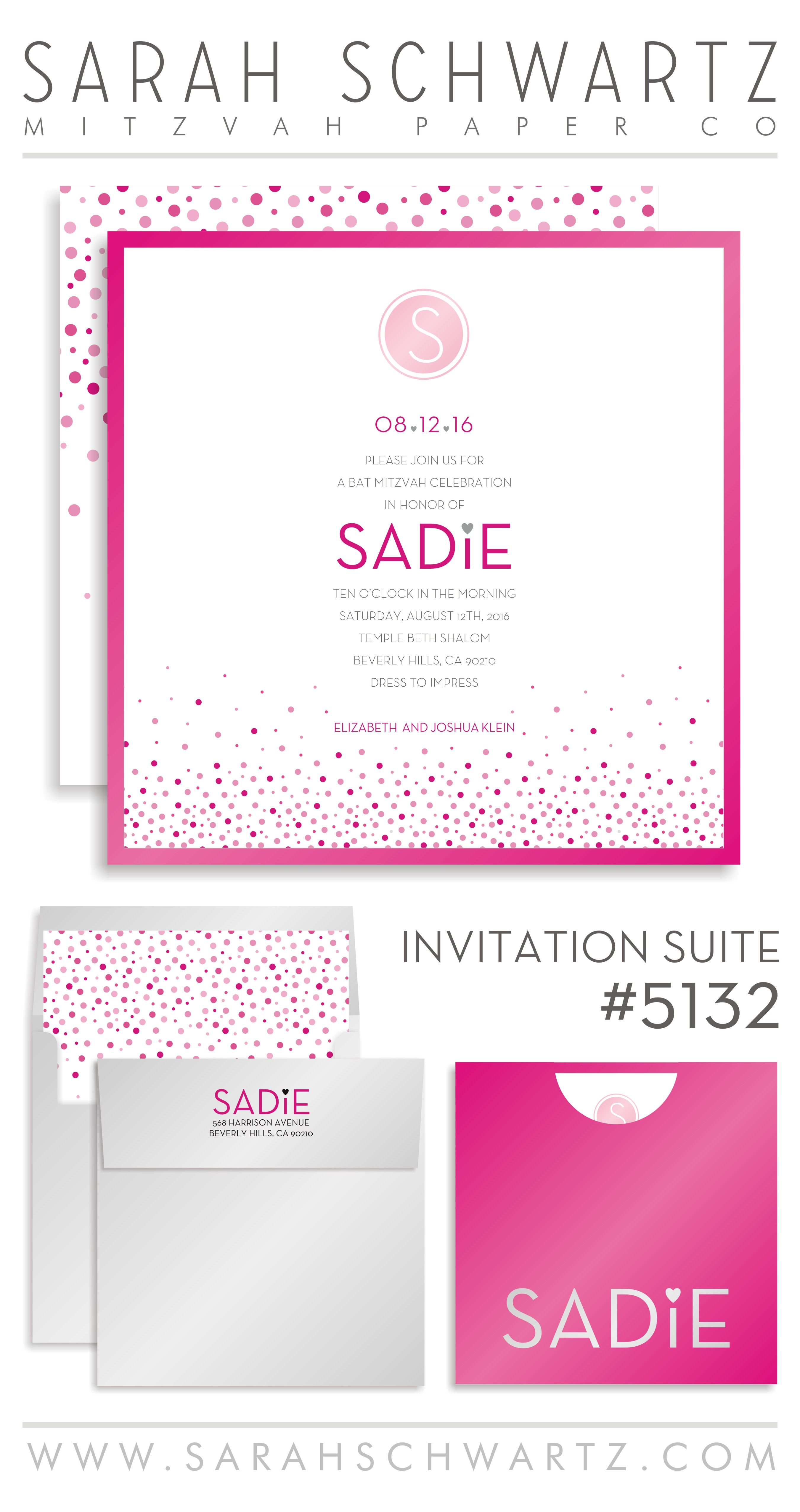 Fun pink and gray Bat Mitzvah invitation suite with polka dots ...
