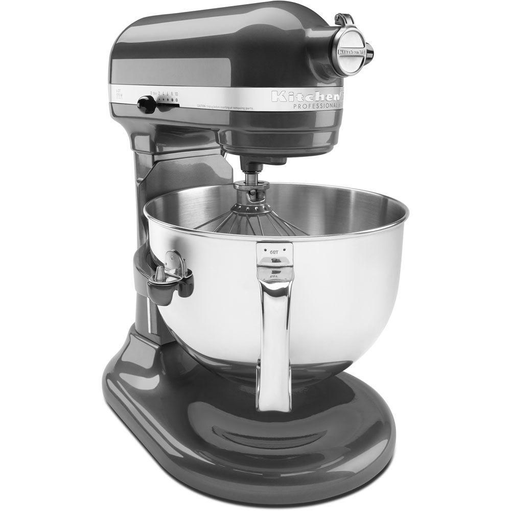 White KitchenAid KP26M1XWH 6 Qt Renewed Professional 600 Series Bowl-Lift Stand Mixer