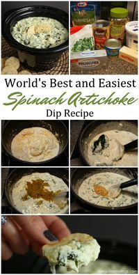 World's Best Spinach Artichoke Dip Recipe #crockpotappetizers