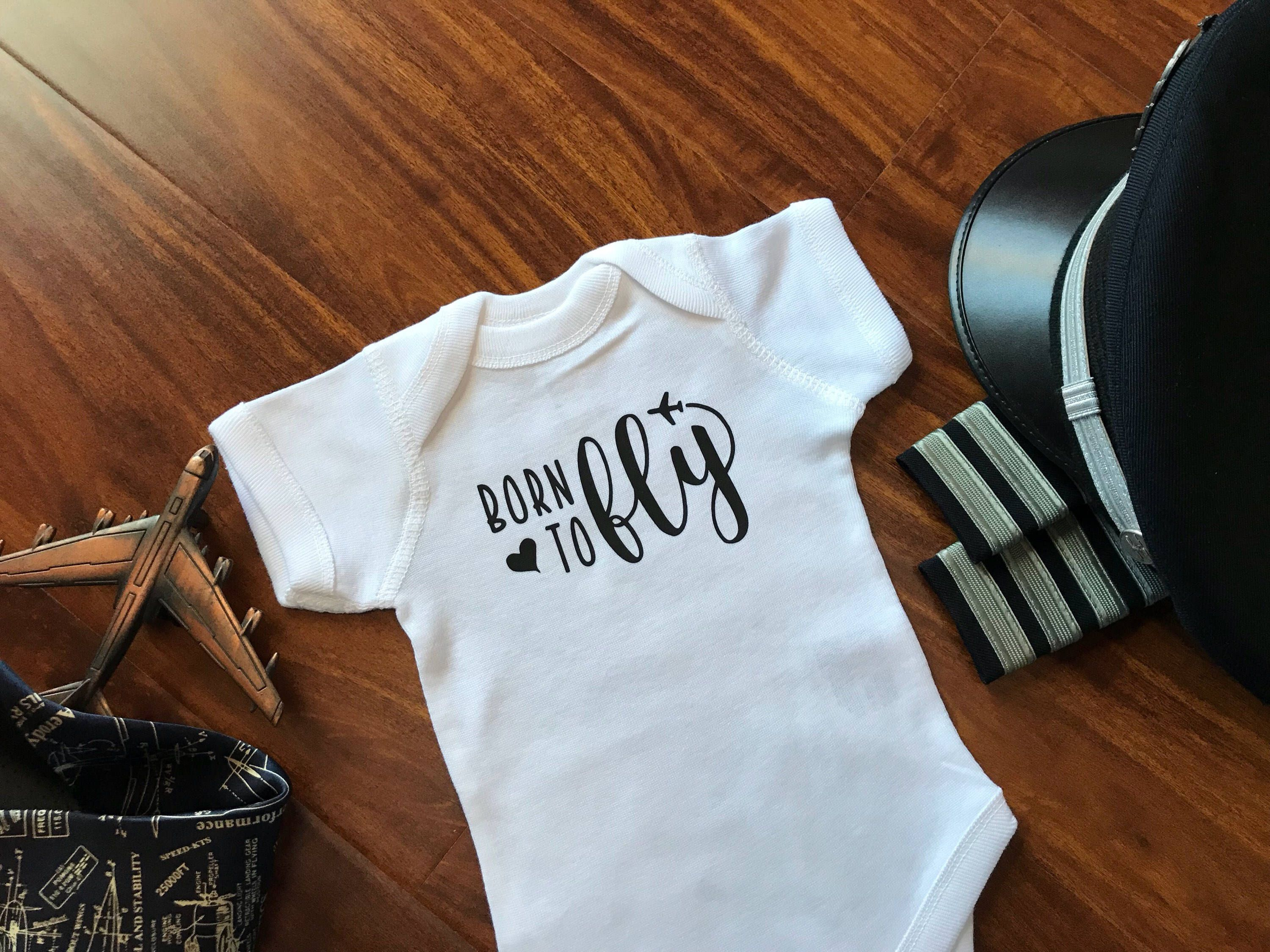 Born to Fly Baby Bodysuit or Kids TShirt 16 Pilot