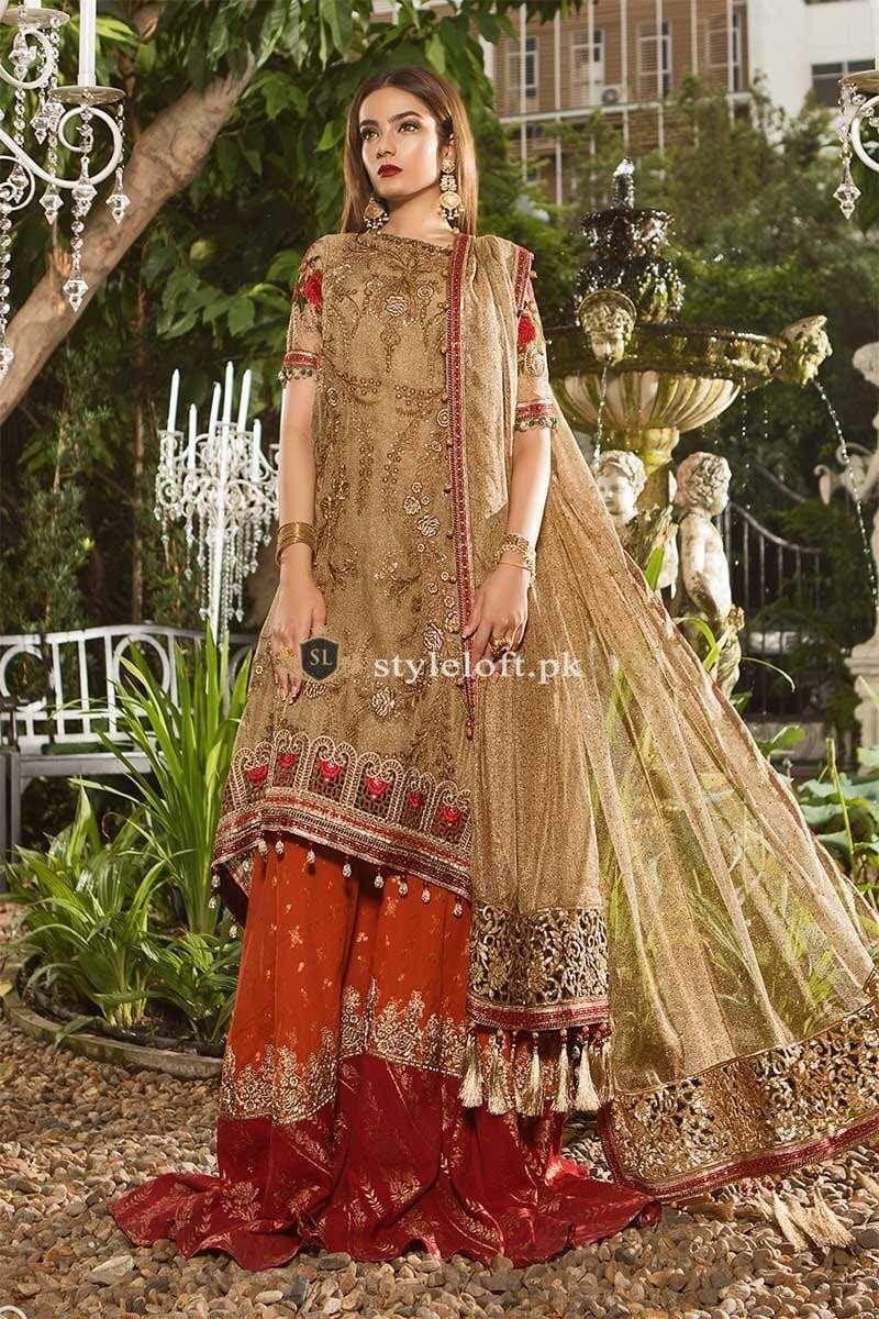 ac6b3b3159f Maria B Embroidered Zari Net Unstitched 3 Piece Suit MB19E 1606 - Luxury  Chiffon Eid Collection