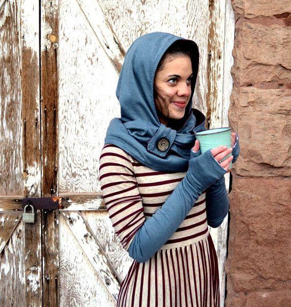Women\'s Hooded Infinity Scarf Pattern, Fleece Hoodie Pattern, Winter ...