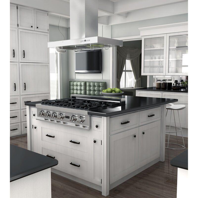 48 400 Cfm Ductless Island Range Hood Kitchen Island With Cooktop Kitchen Island With Stove Kitchen Design