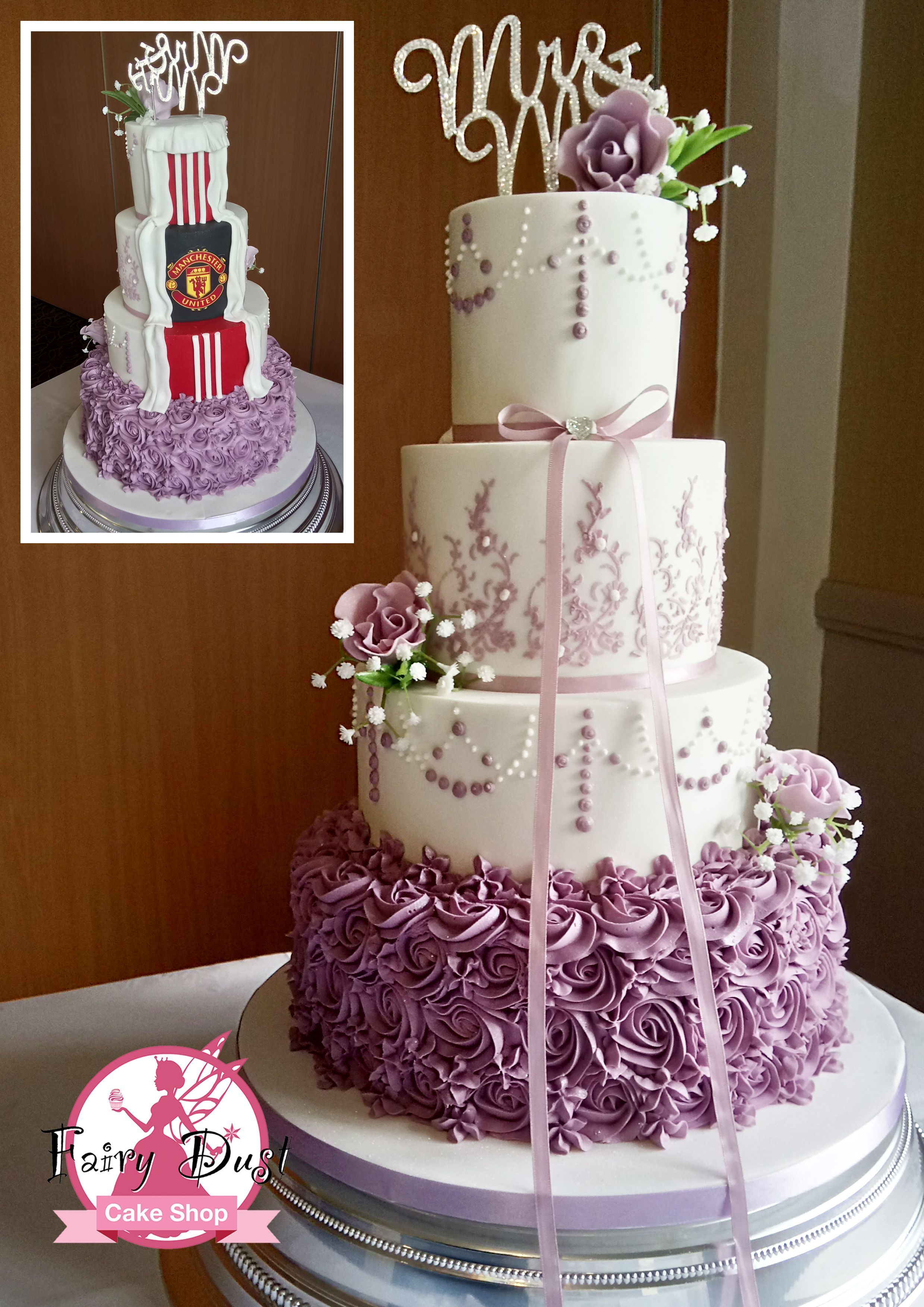 Mauve Rosettes And Hand Piped Pearl Wedding Cake Congratulations To Paige Aaron Who Married