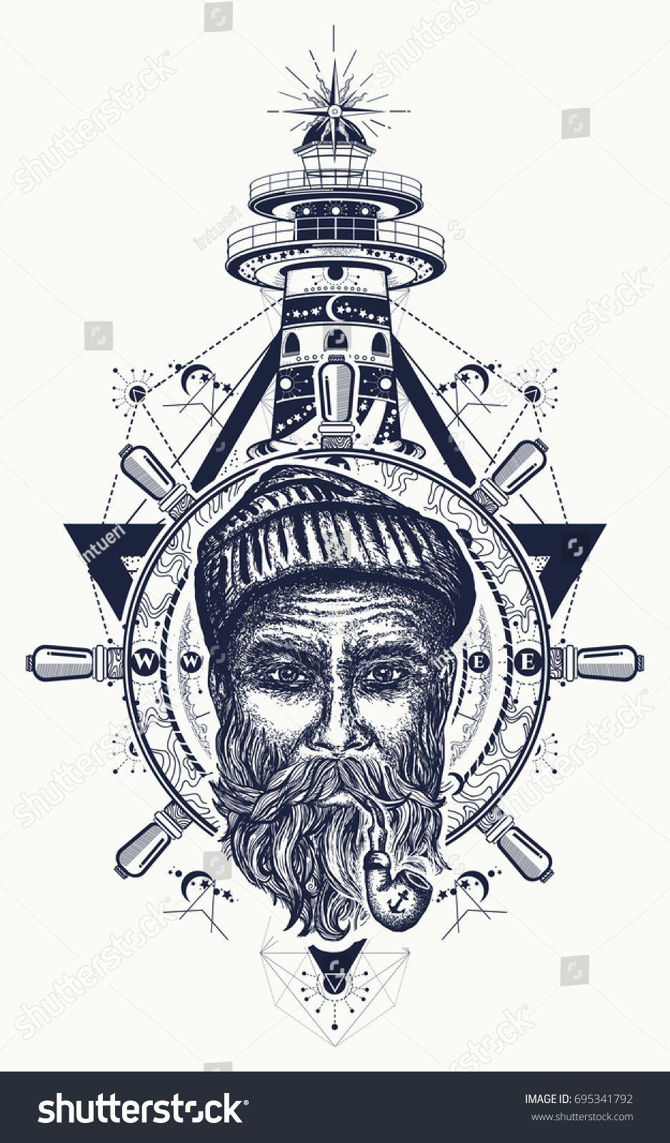 Old Sailor Anchor Steering Wheel Compass Lighthouse Tattoo Art