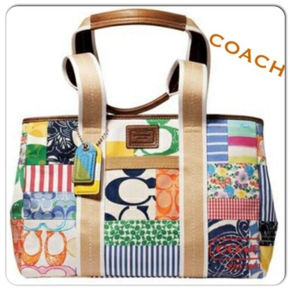 Coach Classic Nwt Authentic Patchwork Tote Bag Fun And Bright Colors Difficult To Find New With Tags Would Make A Great Gift