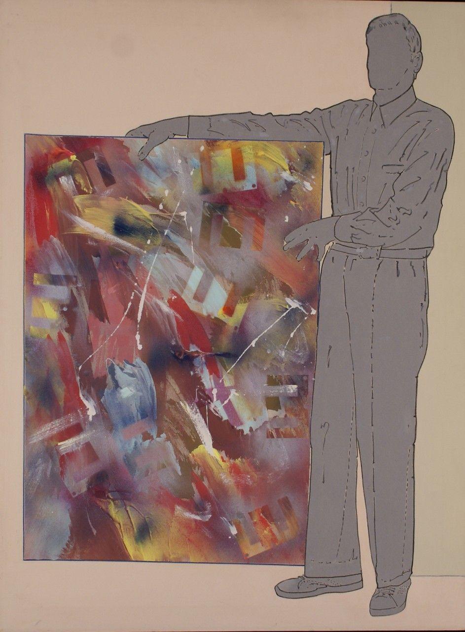 Renato Mambor - Informale mostrato - Olio e smalto su tela grezza - 120x90 cm - 2006