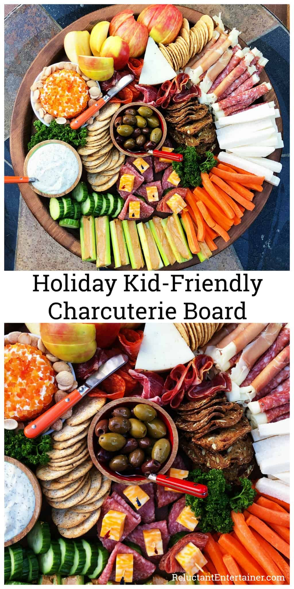 Holiday Kid-Friendly Charcuterie Board, mixing together crudités with charcuterie #kidcharcuterieboard #kidcheeseboard #charcuterieboard via @sandycoughlin #charcuterieboard