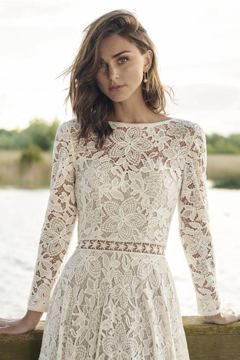 Brautkleid mit Ärmeln, Florale Spitze, langer Arm, Boho Spitze