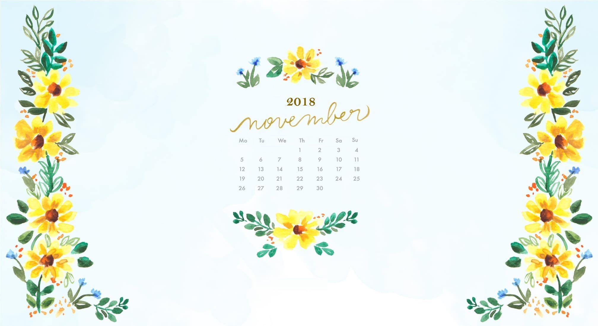 November 2018 Watercolor Calendar Wallpaper Calendar Wallpaper November Wallpaper Wallpaper