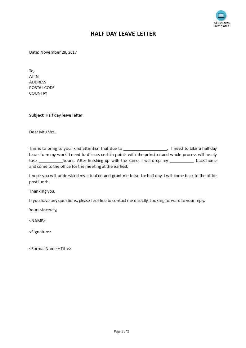 Do you need a Leave letter to request for a Half Day Leave from work? Download this Leave Letter template now! | Lettering. Templates. School template
