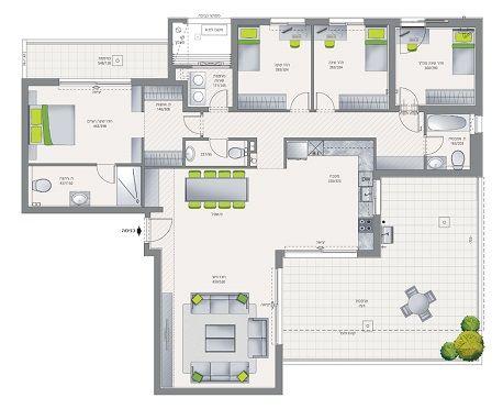 شقق من خمسة غرف للإيجار في الرياض Floor Plans