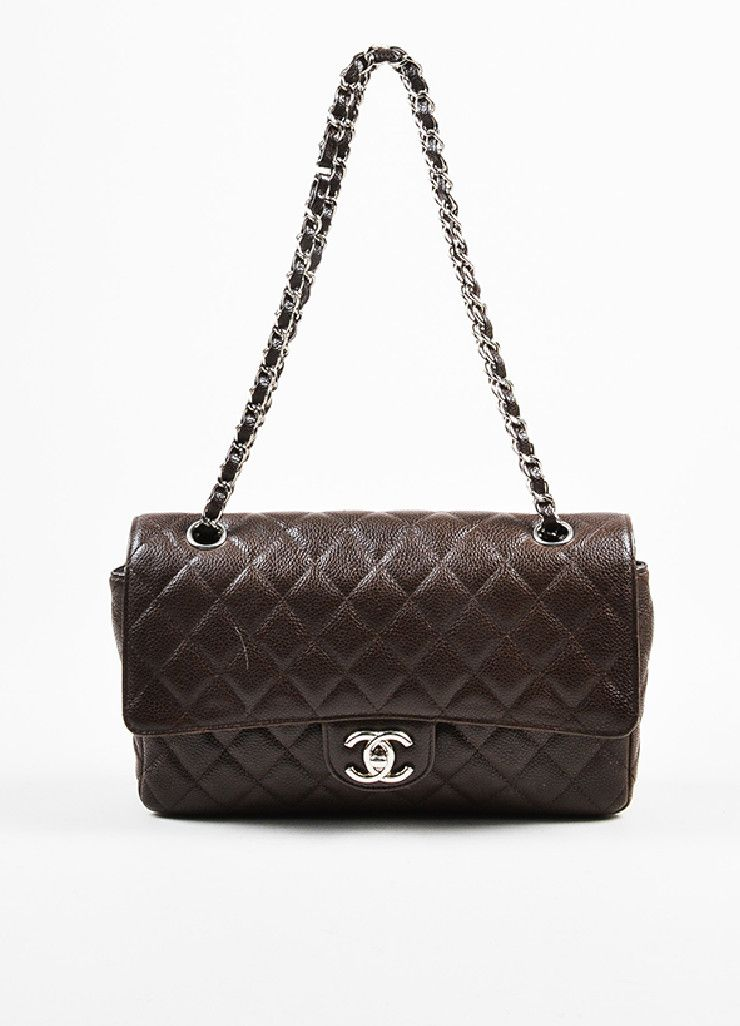 a9f957de7147 Brown Chanel Quilted Caviar Leather