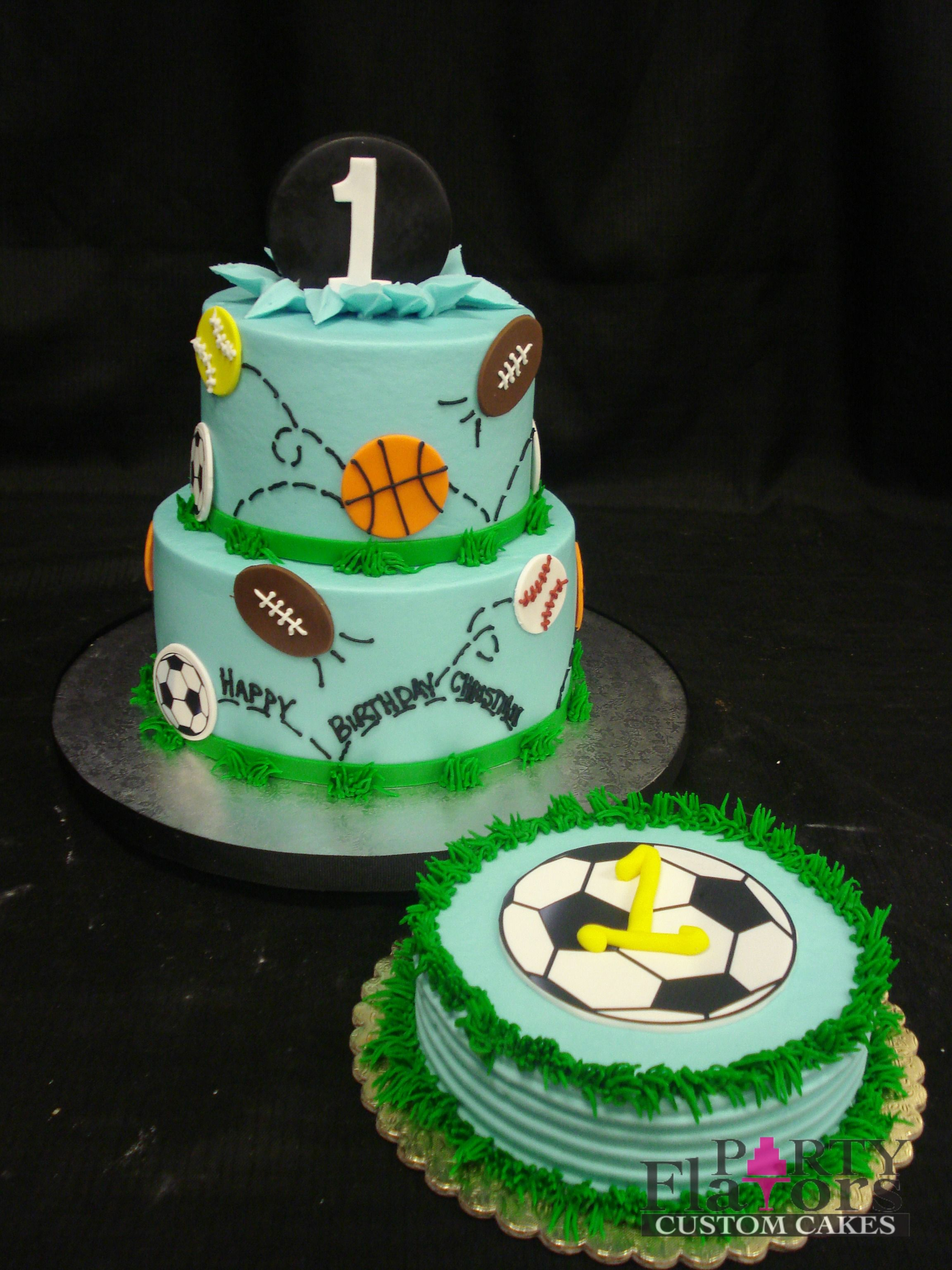 Sports themed birthday cake Blue buttercream base fondant cut out