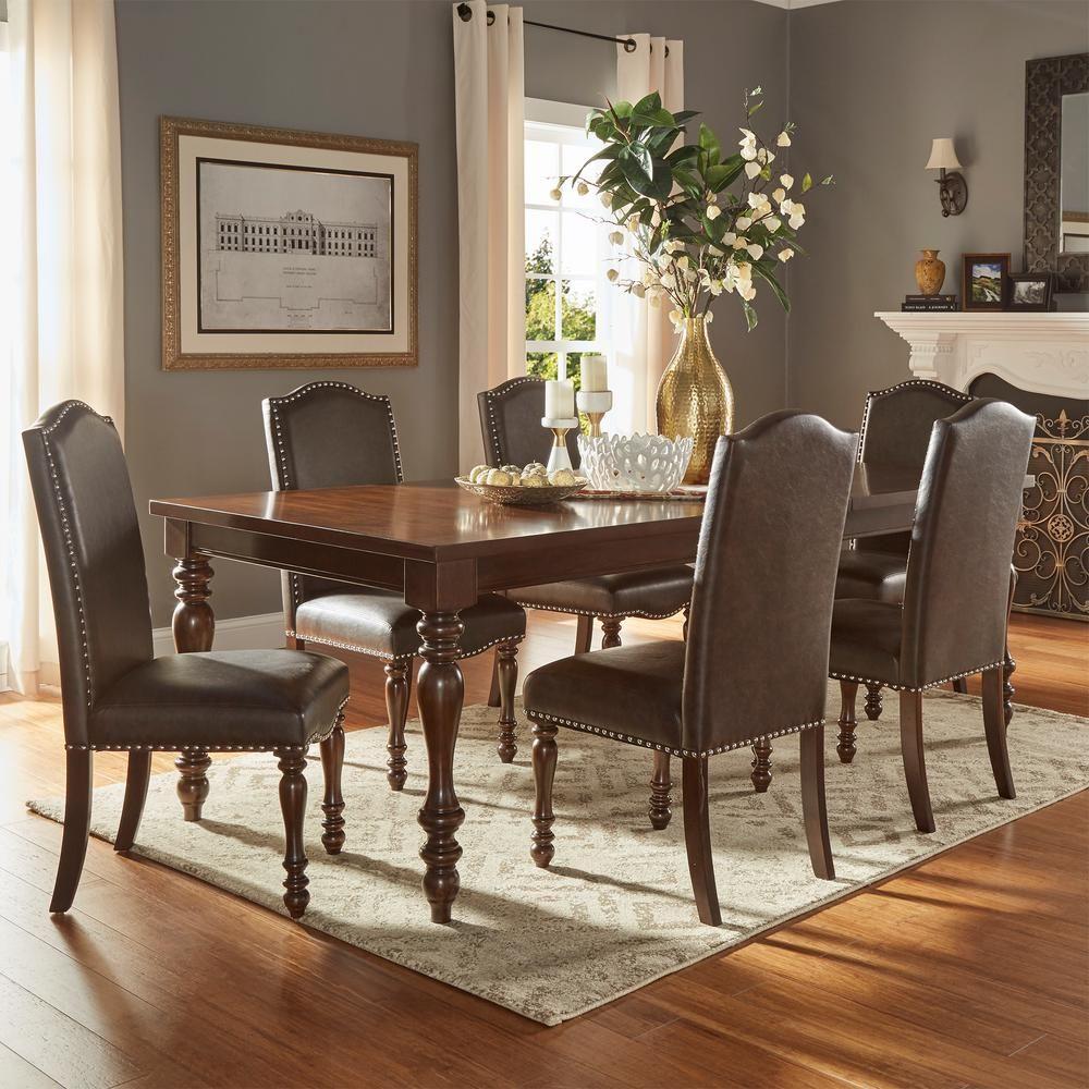 Homesullivan Madison 7 Piece Brown Extendable Dining Set 405425ak