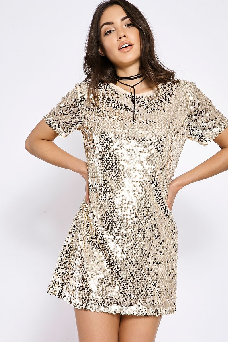 713925d9d09 Gold Sequin Shirt Dress