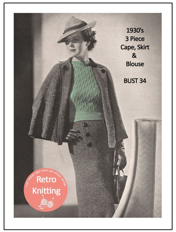 1930s Cape Skirt Blouse Knitting Pattern Instant Download