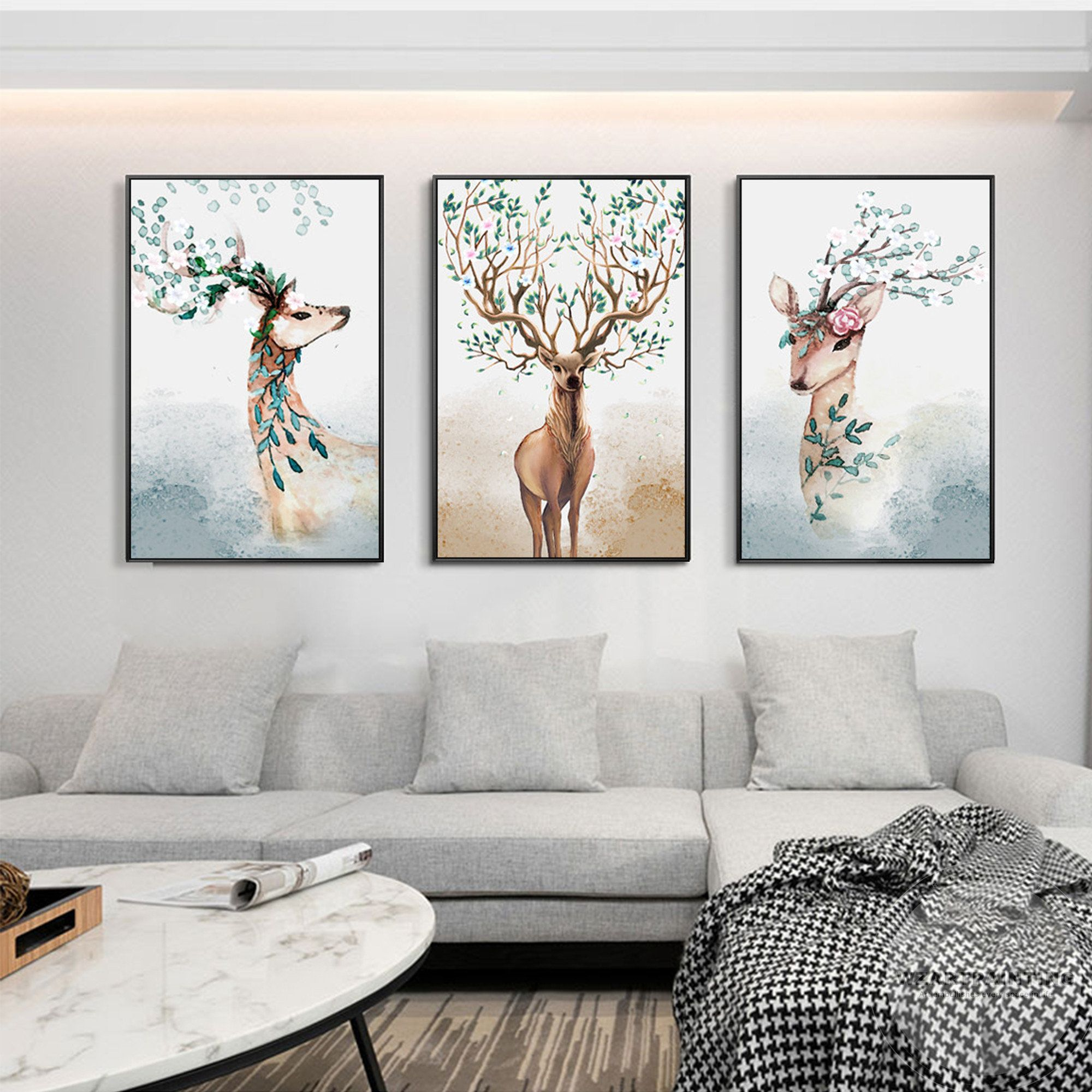 Framed Wall Art 3 Pieces Deer Animal Green Leaf Print Painting On Canvas Framed Painting Large Wall Art Pic Diy Canvas Wall Art Abstract Art Wallpaper Wall Art