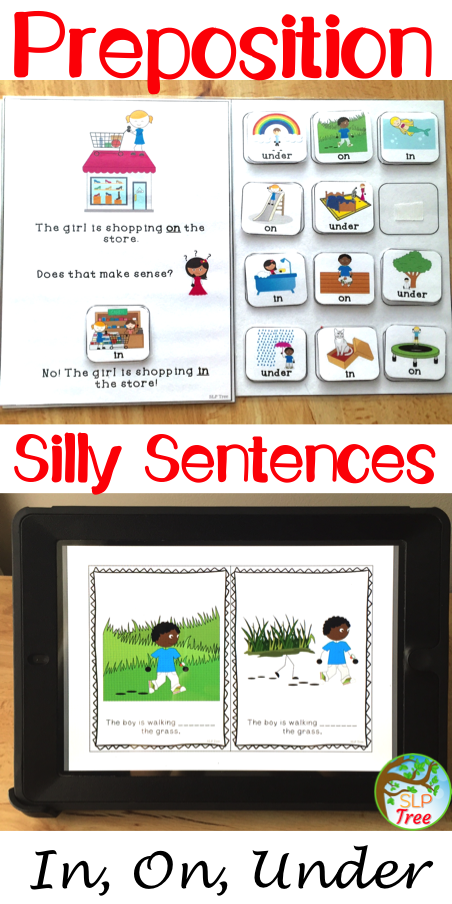 Preposition Silly Sentences: In, On, Under   Speech therapy activities  language, Teaching prepositions, Language therapy activities