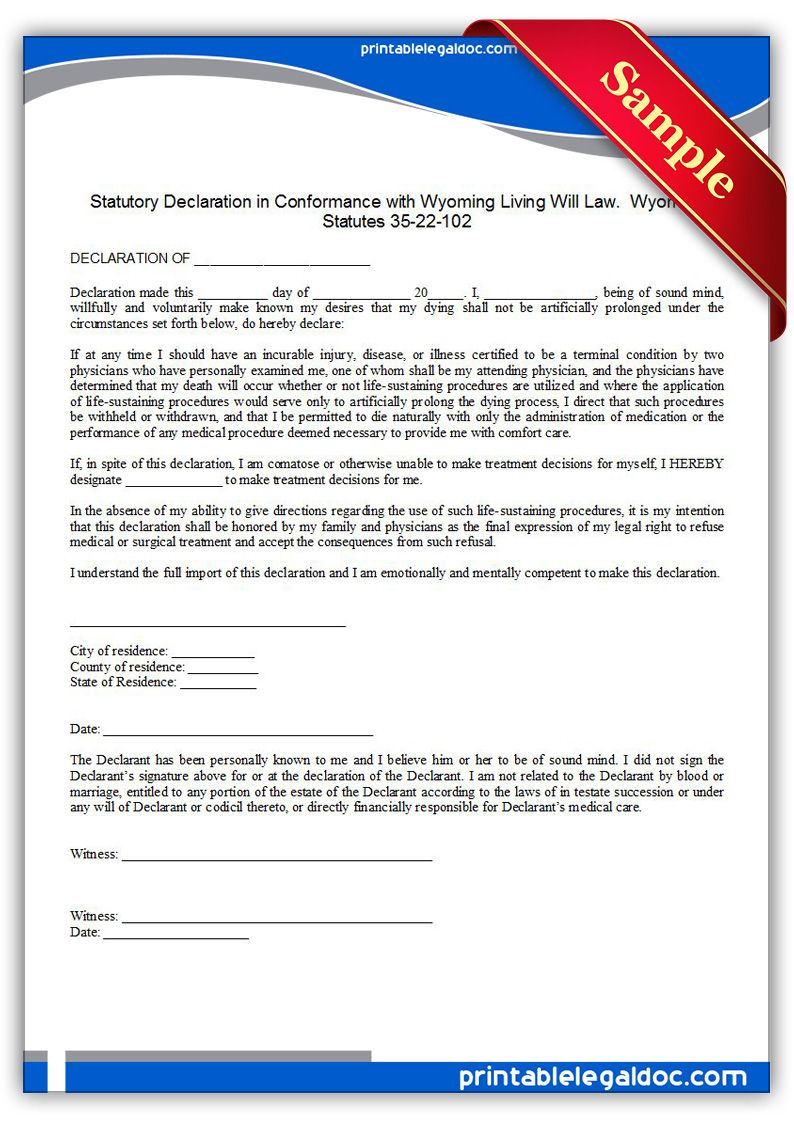Free Printable Living Sustaining Statute Wyoming Form Generic